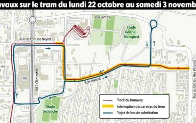 Interruption partielle du tram pendant deux semaines à Clermont-Ferrand